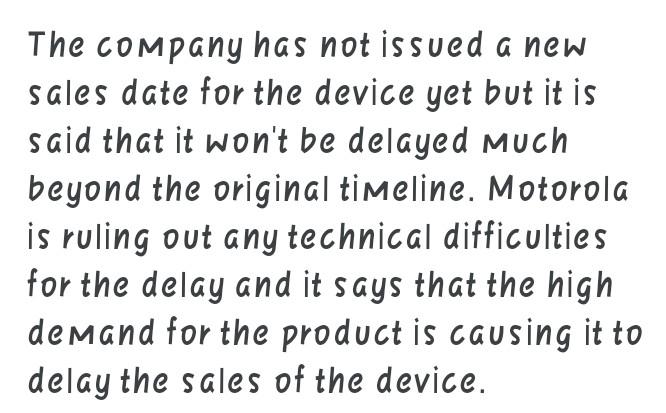New Motorola Razr sales delayed