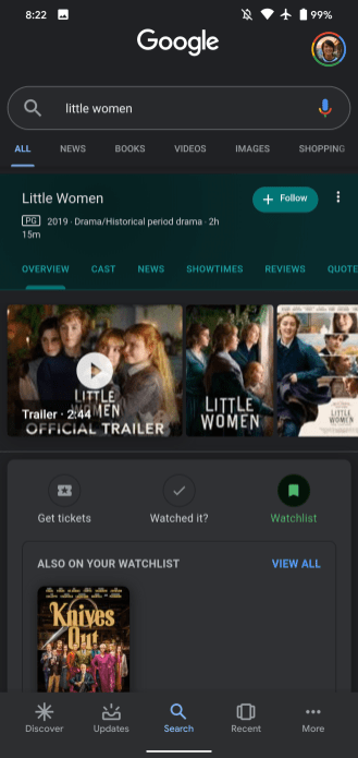 New Google Search Update Have Watchlist Option