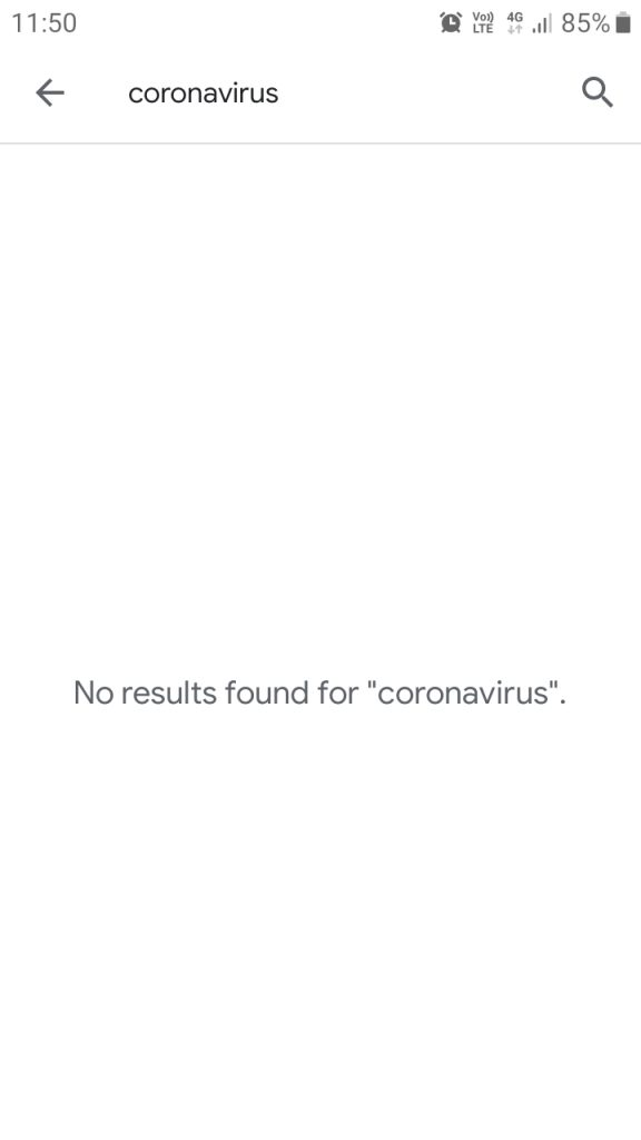 "No Search Result for ""Corona Virus"" on Play Store"