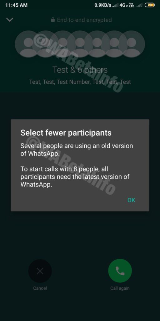 Whatsapp group call to support up to 8 participants