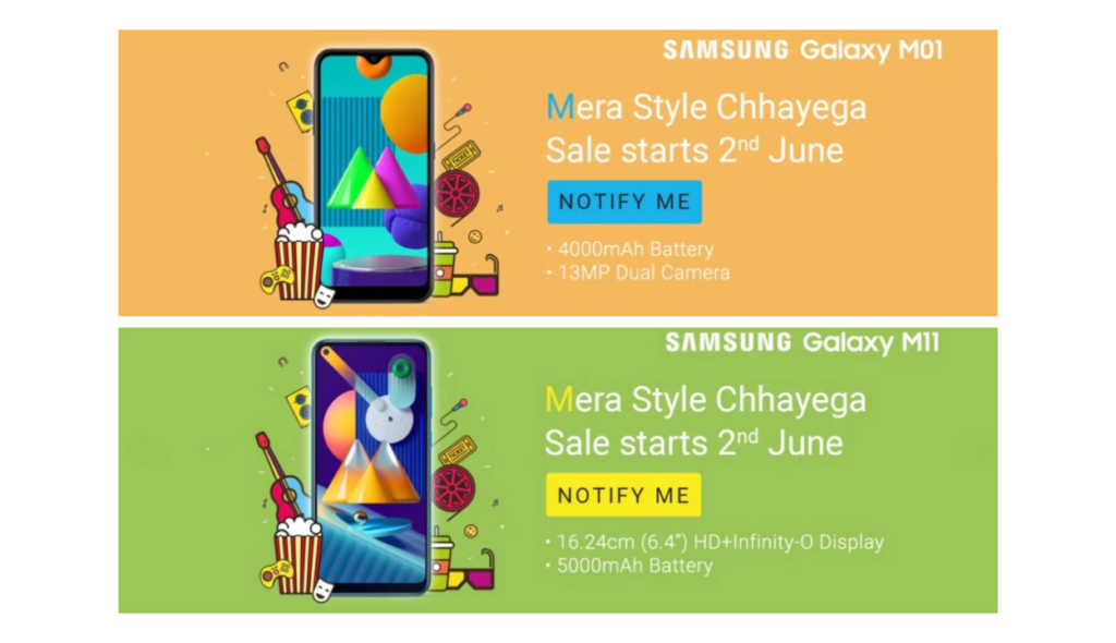 Samsung Galaxy M01 and Galaxy M11 to launch on June 2