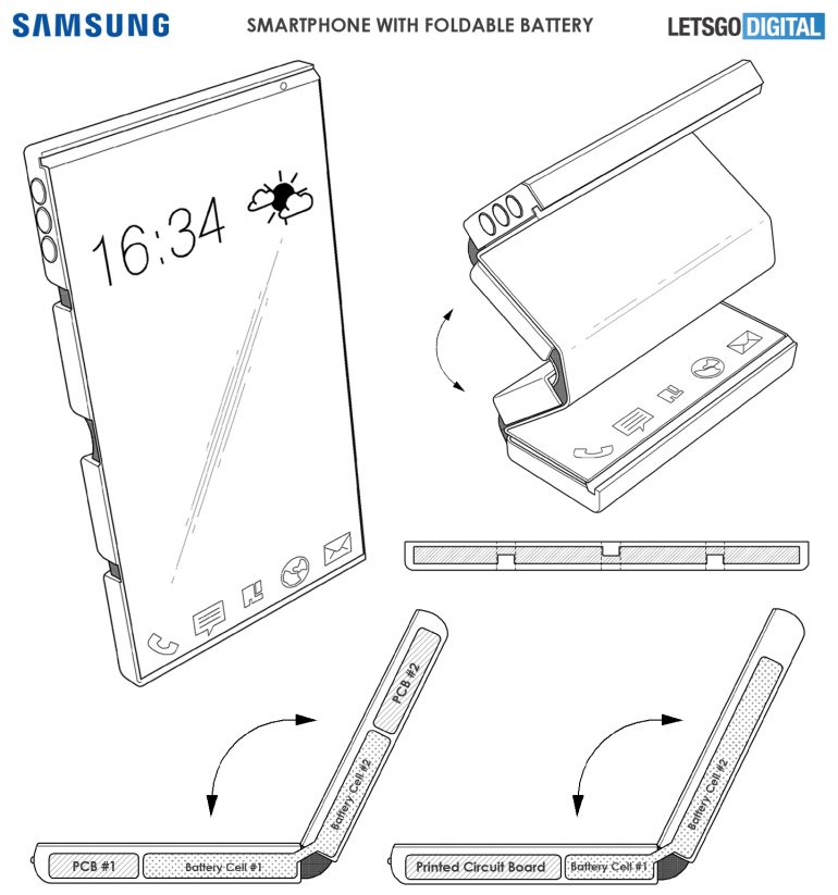 galaxy patent for foldable battery